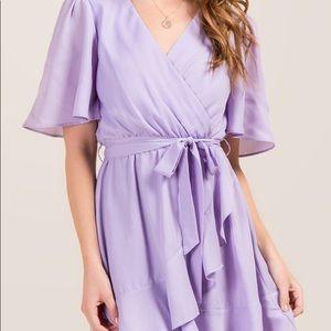 Lavender Tie-Waist chiffon dress